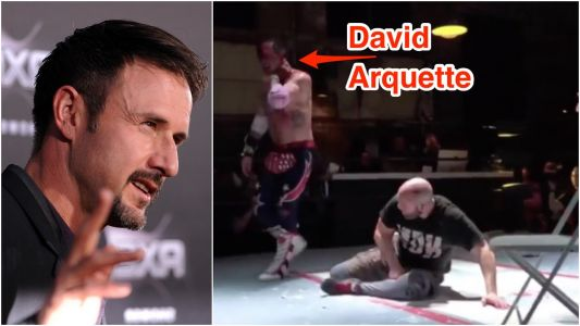 Hollywood actor David Arquette was hospitalised after having his face sliced open with a pizza cutter during a fake wrestling match