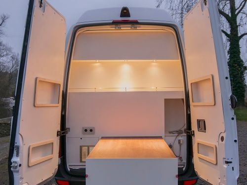 This Mercedes-Benz Sprinter was turned into a tiny home and kitchen that can sleep 4, and now it's on sale for $106,000