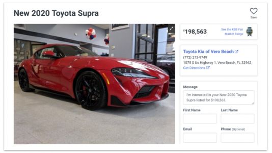 Dealership That Had 2020 Toyota Supra Marked Up To Nearly $200,000 Sells It For $100,000