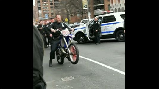 NYPD Cop Wipes Out Riding Illegal Dirt Bike for Some Reason