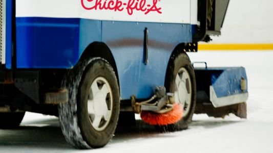 Chick-fil-A zamboni commandeered by protesters during hockey game