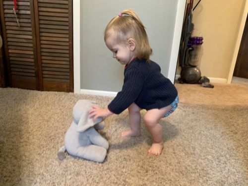 This adorable interactive peek-a-boo elephant was everyone's favorite gift at my baby shower - my 16-month-old daughter still plays with it