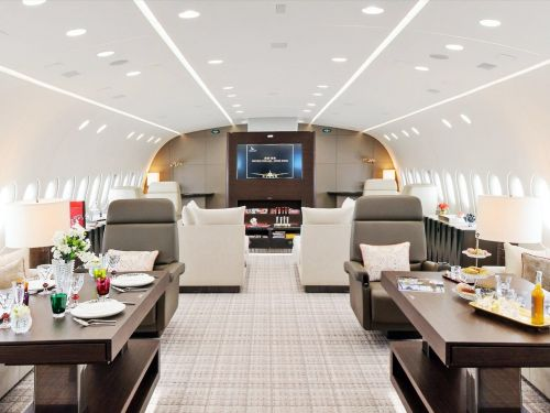 The private jet version of the Boeing 787 can cost more than $200 million and fly over 18 hours. Take a look at some its most luxurious designs
