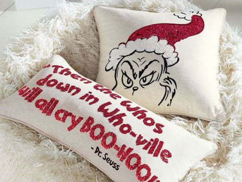 14 fun Grinch-themed Christmas decorations - from sequined pillows to outdoor inflatables
