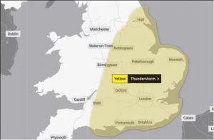 U.K. Met Office issue yellow warning for Wednesday as tornadoes, lightning to hit Britain