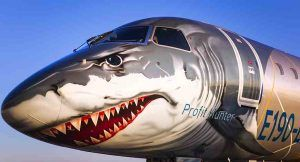 Embraer's E190-E2 stops in India, unveils shark face commercial jet