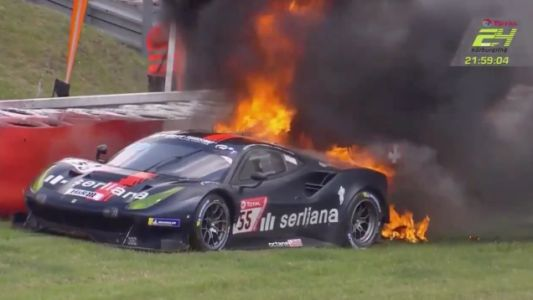 Driver Escapes Extreme Ferrari Fire at the 24 Hours of Nürburgring