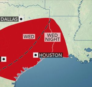 Violent thunderstorms predicted in Deep South, alert for Thursday floods