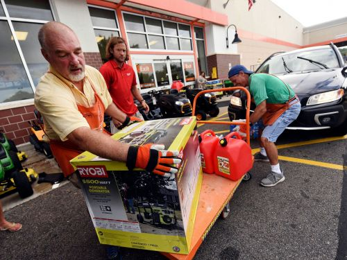 Lowe's and Home Depot have emergency command centers monitoring Florence and thousands of trucks loaded and ready to go to stores in the storm's path