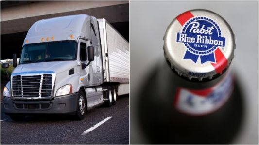 Truck full of PBR meets its match in low-clearance bridge