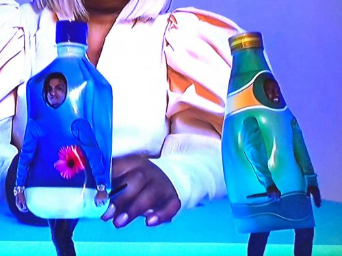 Kanye West dressed up as a bottle of Perrier to perform on 'SNL' and people are seriously confused