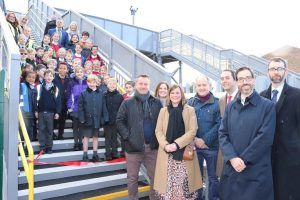 Schoolchildren Help Open New Footbridge Over White Hart Lane Level Crossing in Barnes