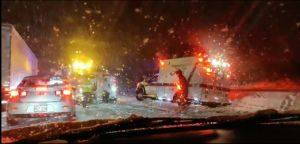 Winter storm and snow halts travel in central United States, motorists stranded, flights delayed