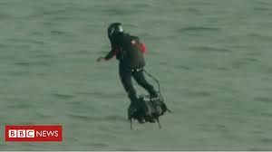 Frenchman crosses English Channel on self-invented flyboard
