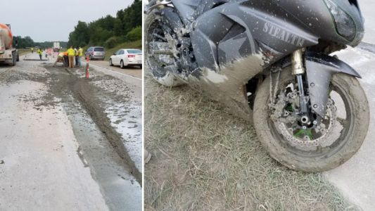 'Stealth' Motorcycle Ditched in Wet Concrete on Michigan Highway